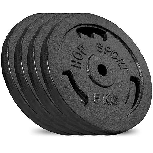 Hop-Sport Hantelscheiben 5kg 10kg 20kg 30kg 40kg Guss Gewichte Hantel Set Gewichtsscheiben 30mm (4 x 5 kg)