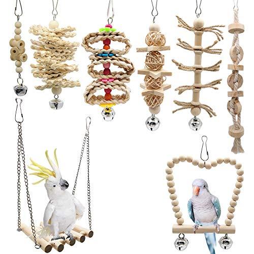 8pz Juguetes para Pájaros Columpio para Loros Accesorios Madera Natural Jaula Pajaros Bite Toy con Campanas para Periquitos, Cockatiels, Cacatúas, Conures, Pinzones, Pájaros del Amor, Agapornis
