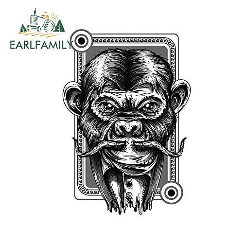 JYIP 13cm x 9 5 cm para chimpancé Negro Blanco Personalidad de Coche Creativas Etiqueta Fina Tabla de Surf Impermeable Personalizada-Style_A