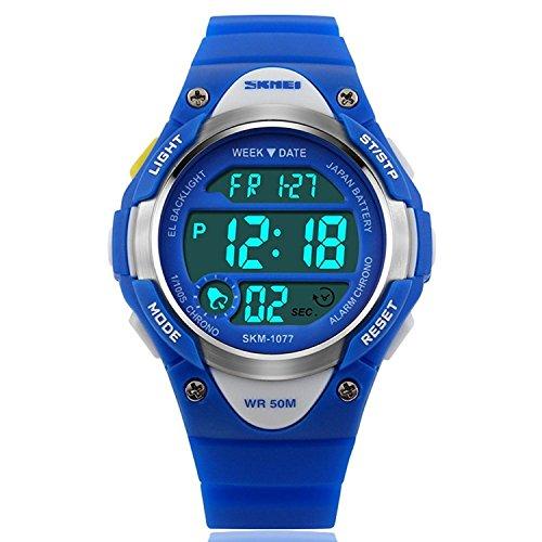 SKMEI Boys Blue Digital Watch 50m Water Resistant with Stopwatch Alarm...