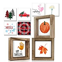 Rustic Decor Set w/ 18 Design Options: Kibaga brings on the inspirational & seasonal vibes with 18 lovely design options that give you the opportunity to switch sayings whenever you like to! Set incl. three rustic wooden frames (w/o glass) & 9 revers...