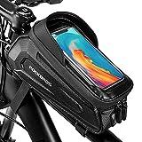 JEJA Bolsa para Cuadro de Bicicleta, Bolsa Bicicleta Resistente al Agua, 6,5 Pulgadas Funda para el Marco del Teléfono Móvil con Ventana Táctil, para Todos los Tipos de Bicicletas