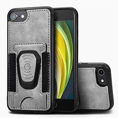 Funda Cartera para iPhone SE 2020 /iPhone 8 /iPhone 7 Funda Tarjetero Slim con Placa de Metal Integrada para Soporte Magnético,Gray
