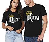 SR King Queen T Shirt Couple Shirt Matching Couples Tshirt -Black-Medium-(Queen ONLY)