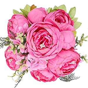 Floralsecret Artificial Silk Peony Bouquet Vintage Fake Flower Home Decor Wedding Centerpiece(Spring Rose Red)