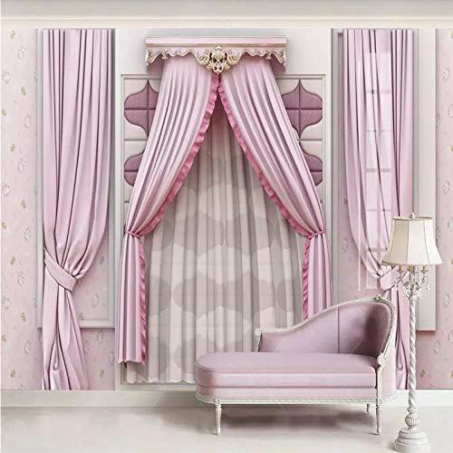 DZBHSCL 4D behang wandschilderingen, creatieve persoonlijkheid roze gordijn fake raam Hd kunstdruk grootte fotobehang voor huis woonkamer slaapkamer wanddecoratie poster 64in×100in 160cm(H)×250cm(W)