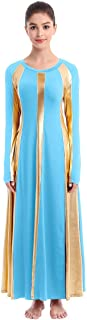 Womens Adult Metallic Gold Color Block Long Sleeve Praise Dance Dress Loose Fit Full Length Liturgical Lyrical Worship