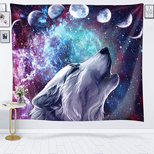 JOYSOG Wolf Tapestry Space Moon Tapestry Wall Hanging Wolves in Starry Night Sky Tapestries Galaxy Stardust Wall Tapestry for Bedroom Living Room Dorm - 80' x 60'