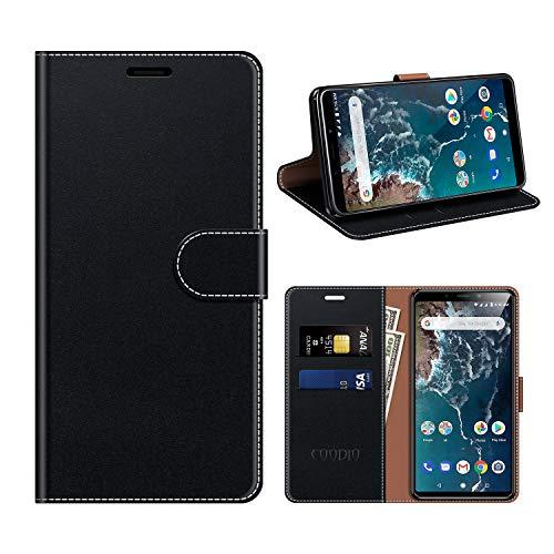COODIO Xiaomi Mi A2 Hülle Leder, Xiaomi Mi A2 Kapphülle Tasche Leder Flip Cover Schutzhülle Rugged für Xiaomi Mi A2 Handyhülle, Schwarz