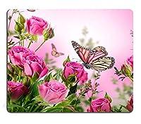 ピンクのマウスパッドおしゃれ耐久滑り防止カスタム、ピンクローズパーソナライズデザインノンスリップラバーマウスパッドおしゃれ耐久滑り防止で飛ぶ花の装飾蝶