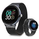 【Versión Mejorada】 Bebinca Smartwatch Reloj Inteligente,Monitor de frecuencia cardíaca automático7/24,Clima, oxígeno en Sangre,DIY watchface,Fitness Tracker IP68 Waterproof, Batería Potente (Acero