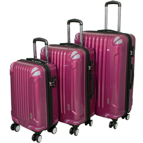 AMKA 3-piece Tsa Locks Hardside Upright Spinner Luggage Set-Purple, One Size