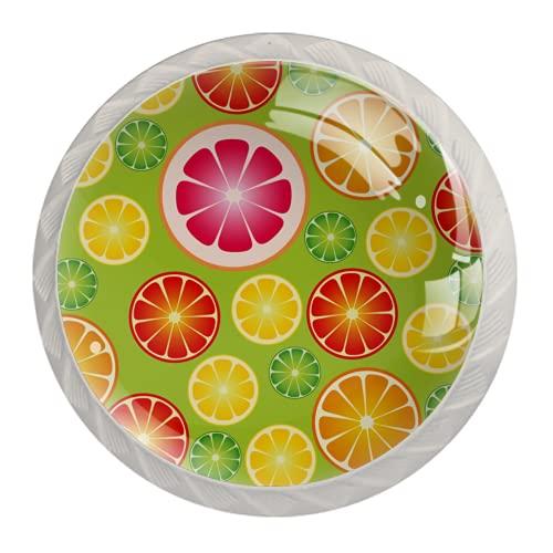 Manijas para cajones Perillas para gabinetes Perillas Redondas Paquete de 4 para armario, cajón, cómoda, cómoda, etc., Rodaja De Fruta Limón Naranja