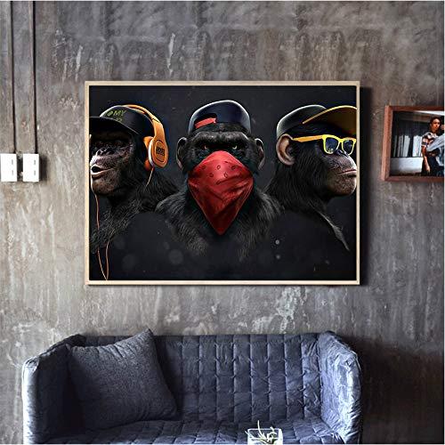 TYLPK Tierbild Leinwanddruck Lustiger denkender AFFE mit Kopfhörern Wandplakat Wohnzimmerdekoration A4 60x80cm