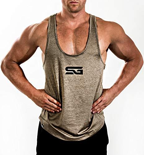 Satire Gym - Camiseta de Tirantes para Fitness de Hombre/Ropa Funcional de Secado rápido para Hombres - Camiseta de Tirantes para Hombres, Apta para Culturismo y Entrenamiento. (Caqui Moteado, L)