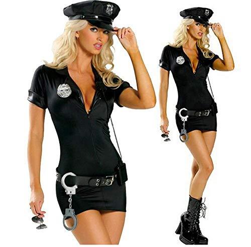 Nachthemden Für Damen Halloween Kostüme Für Frauen Polizei Cosplay Kostüm Kleid Sex Cop Uniform Sexy Polizistinnen Kostüm Outfit Prom Plus Größe S -2XL-Black_S