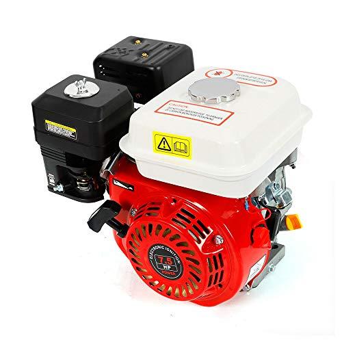 Motor de gasolina de 5100 W, 4 tiempos, 7,5 hp, 3600 rpm, motor de enfriamiento por aire, motor de arranque de cuerda, motor de cambio con alarma de aceite (rojo y blanco)