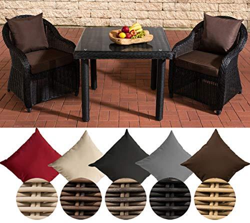 CLP - Conjunto de Mesa y sillas de jardín de Resina Trenzada San Juan de 100 x 100 cm de Cristal Claro – Conjunto de Mesa y sillas de jardín de poliratán sintético cojín del Asiento: