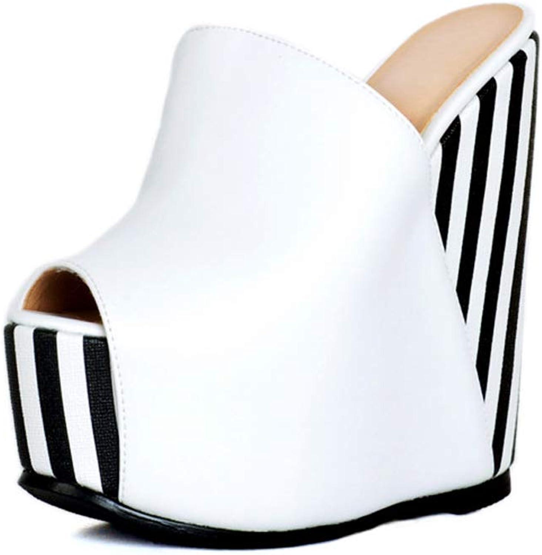 CASSOCK Ladies Handmade Wadge Heel Sandals Peep-Toe Sexy Tall Fashion Summer Sliper shoes