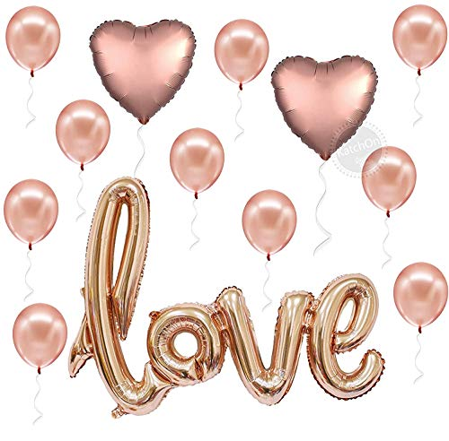 Rose Gold Love Balloons for Romantic Night - 36 Inch, I Love You Balloons for Her   Large 18 Inch, Foil Heart Balloons for Valentines day Decorations   Mylar Love Balloon Letters for Bedroom Decor