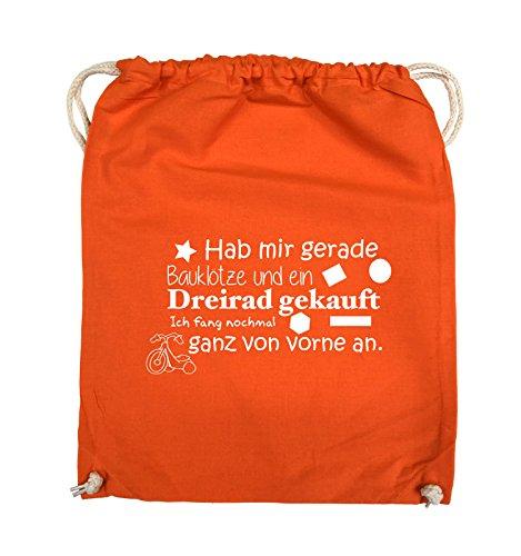 Comedy Bags - Hab Mir gerade Bauklötze und EIN Dreirad gekauft - Neuanfang - Turnbeutel - 37x46cm - Farbe: Orange/Weiss