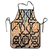 IUBBKI Delantal de Cocina Personalizado, Delantal Fresco Delantal de Parrilla Personalizado para cocinar, Hornear, jardinería, Azulejos de Alhambra