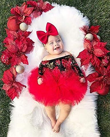 Fascia per Neonata Loalirando 3 Pezzi Completo Bambina Neonata Tuta Bambina Stampa Fiore Rosso Pagliaccetto a Manica Lunga Senza Spalline Gonna in Tulle