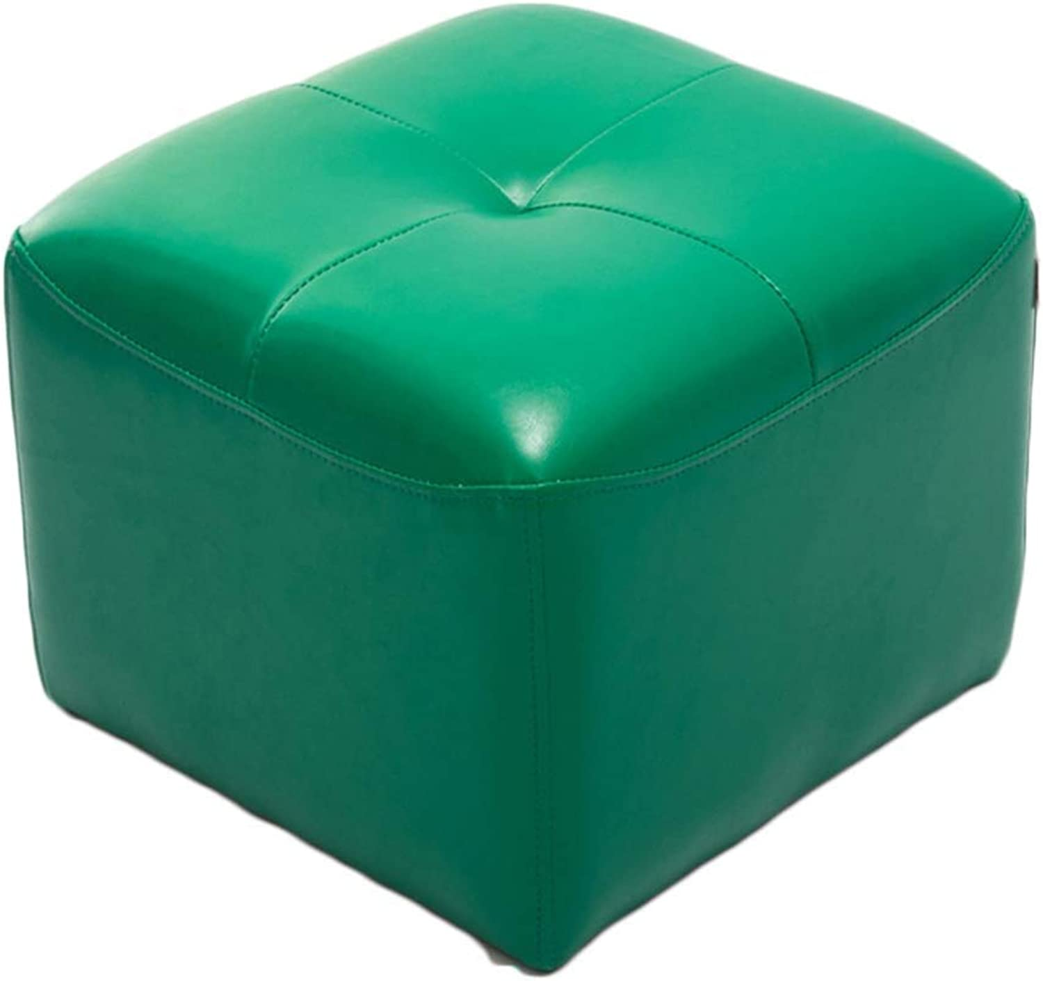 RMJAI Small seat Household Fashion PU Footstools shoes Stool Square Sofa Stool(16.5x16.5x13.3 Inches) (color   Green)