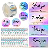 620 PCS Thank You Cards Set, Rainbow Holographic Silver Thank You Cards 500 Piece 1.5 inch Round Decorative Sticker Label Resealable Packaging with Zip Lock, Suitable for Business Owners Sellers