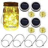 Ymenow, 4 lanterne a LED a energia solare, impermeabili, per KTV, bar, esterni, tavolo da parete, decorazione da giardino (Mason Jars non inclusa)
