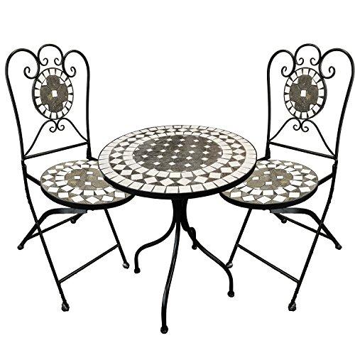 Dekoratives Mosaik Set 3-teilig Sitzgarnitur Mosaiktisch + 2 Mosaikstühle Sitzgruppe Gartentisch Gartenmöbel Bistrotisch