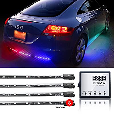 Second Generation 8pc 24in Tubes Advanced UFO style 3 Million Color Remote Control LED Undercar Light Kit