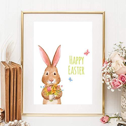 Din A4 Kunstdruck ungerahmt - Frohe Ostern - Hase Häschen Kaninchen - Happy Easter - Druck Poster Bild