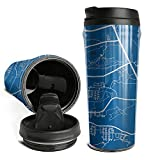 Cute Coffee Mugs Travel United State Air Force Academy Campus Map Art Style Double Wall Insulated Thermal Travel Mugs for Men Women 16.9 Oz