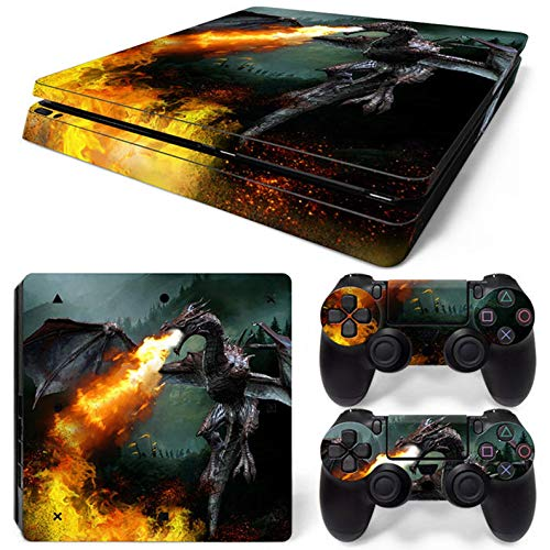 ZOOMHITSKINS PS4 Slim Skins, Animal Prehistoric Dragon Fire Flames Medieval Classic Vintage, High Quality, Durable, Bubble-free Goo-free,Cover Set of 2 Controller Skins 1 Console Skin, Made in USA