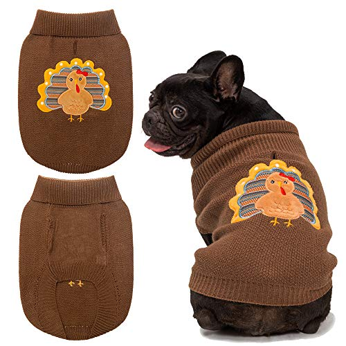 Dog Thanksgiving Sweaters with Turkey Pattern Soft and Warm Knitted Clothes Brown for Dogs -S