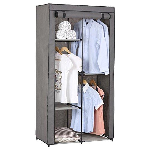 Stoffkleiderschrank Kellerschrank Faltkleiderschrank ADAM, mit 3 Kleiderstangen und 2 Regalfächern, mit Schutzhülle in grau - 5 Verschiedene Aufbauvarianten