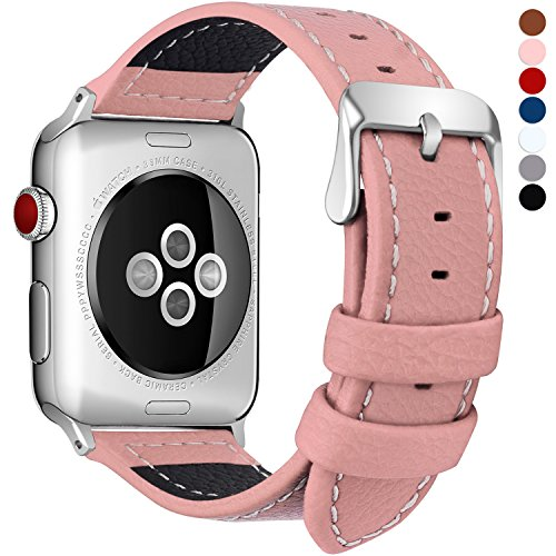 Fullmosa LC-Jan Cuero Correa, 7 Colores Correa Compatible Apple Watch/iWatch Series 5, Series 4, Series 3, Series 2, Series 1, 38mm, 42mm, Rosa 38mm