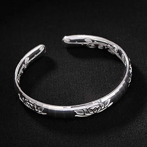 Angelazy armband voor dames, 925 sterling zilver, modieus, vintage, verstelbaar, met glanzende lotus motief, voor dames, jurk