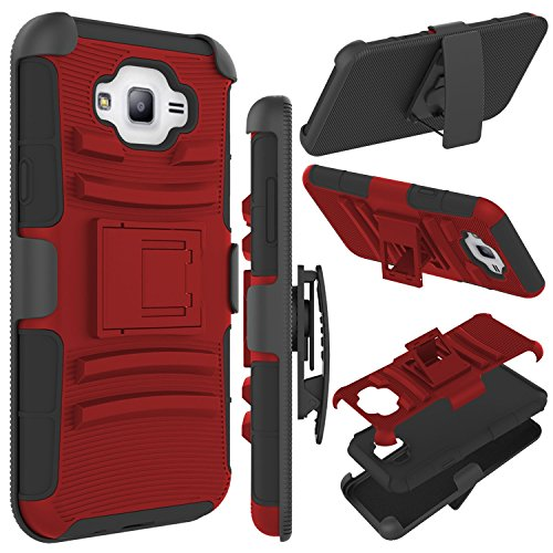 zenic J7 Case, Galaxy J7 J700 Case, (TM) Hybrid Full-Body Protective Case Cover with Kickstand & Belt Clip Holster Combo for Samsung Galaxy J7 (2015 Released) All Carriers (Red/Black)