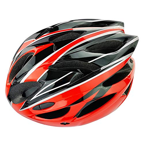 UPANBIKE Bike Helmet One-piece Adjustable Riding Cycling Helmet Adult Head Safety Protection Large Size(Red+Black)