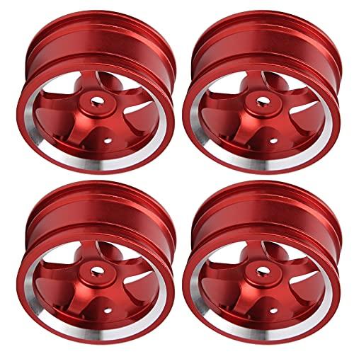 Cubos de llanta de Rueda RC, neumáticos de Coche RC fáciles de Instalar y Desmontar Aleación de Aluminio de Calidad para MN86 1/12 RC Crawlers para Drift Car(Red)