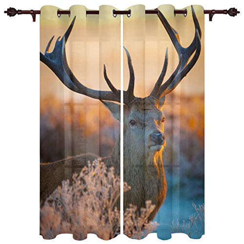 """Window Treatment Drapes 2 Panels for Home Living Room Deer at Sunset Art Photo Decorative Curtains for Farmhouse Kitchen, Privacy Protection for Bedroom 52""""x90""""x2 Panels"""