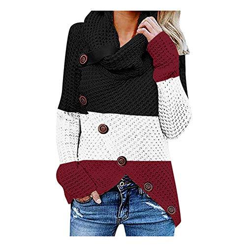 iHENGH Damen Herbst Winter Übergangs Warm Bequem Slim Lässig Stilvoll Frauen Langarm Solid Sweatshirt Pullover Tops Bluse Shirt (L, G Rot)