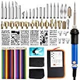 77Pcs Wood Burning Kit, Pyrography Pen Set for Wood Burning/Carving/Embossing/Soldering, with Adjustable Temperature Soldering Pen + Pyrography Tips + Stencils + 18 Color Pencils (UK Plug)