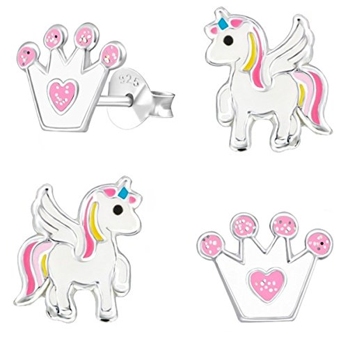 GH* KIDS 2 PAAR Ohrstecker Glitzer Krone + Pegasus Einhorn 925 Echt Silber Mädchen Kinder Pferde Ohrringe Emaille (Krone Weiß-Rosa)