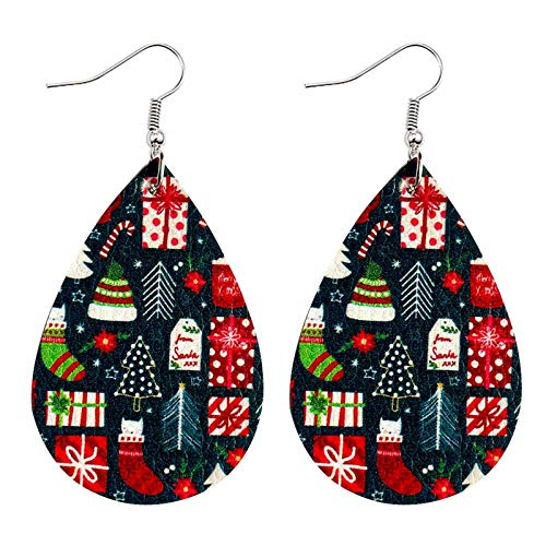 Janly Clearance Sale Earrings Santa Claus Snowman Christmas Leather Earrings Holiday Ornaments, Earrings for Xmas 2020 Decoration (C)