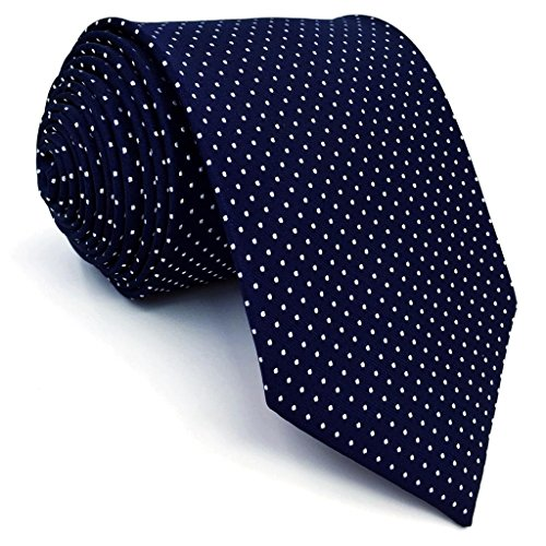 Shlax&Wing Herren Klassisch Geschäftsanzug Seide Krawatte Blau Weiß Punkte Extra lang