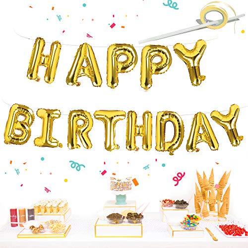 Happy Birthday Ballon Girlande, Gold Geburtstag Luftballon Deko Buchstaben Folienballons, 16 Zoll Alphabet Folien Banner Ballon mit Stroh Band für Kinder Junge Mädchen Geburtstag Babyparty Dekoration