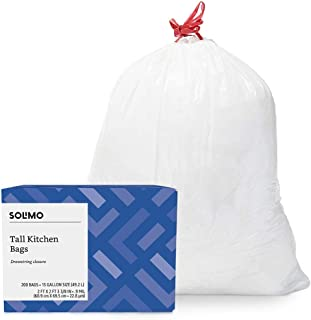 Amazon Brand - Solimo Tall Kitchen Drawstring Trash Bags, 13 Gallon, 200 Count